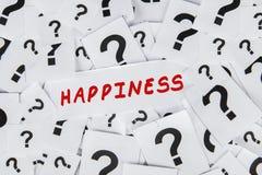 Preguntas sobre felicidad Imagenes de archivo