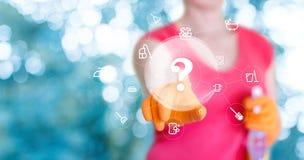 Preguntas sobre la limpieza de la casa Imágenes de archivo libres de regalías