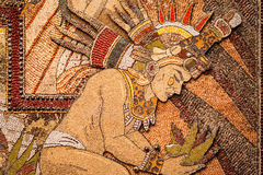 Prehispanic mosaic from seeds and grains.  Royalty Free Stock Image
