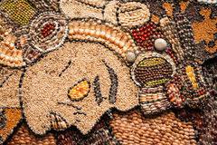 Prehispanic mosaic from seeds and grains.  Royalty Free Stock Photo