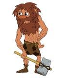 Prehistórico con un martillo de piedra stock de ilustración