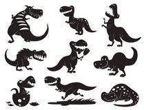 Prehistórico despredador jurásico salvaje del tiranosaurio de la silueta de Dino del vector de los dinosaurios del t-rex del peli stock de ilustración