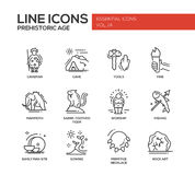 Prehistoric age- line design icons set Stock Images