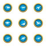 Prehistoric animal icons set, flat style. Prehistoric animal icons set. Flat set of 9 prehistoric animal vector icons for web isolated on white background vector illustration