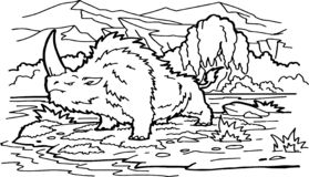 Prehistoric animal. cartoon ancient mammal, ice age rhinoceros. Prehistoric animal. Vector cartoon ancient mammal, ice age rhinoceros stock illustration