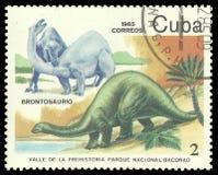 Prehistoric animals, Fauna. Cuba - stamp 1985, Multicolor Edition Prehistoric animals, Fauna, Series Prehistoric Valley in Baconao national park, Brontosaurus Stock Photography