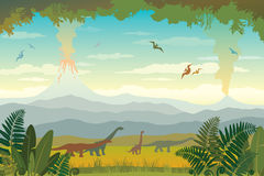 Prehistoric animals and landscape. Silhouette of dinos. Stock Photography