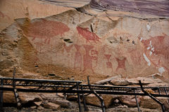 Prehistoric art paintings at cliff of Pha Taem. Ubon Rajchathani, Thailand Stock Photography
