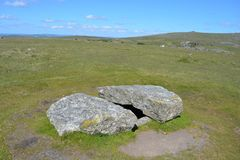 Prehistoric burial chamber Dartmoor National Park, Devon, UK stock photos