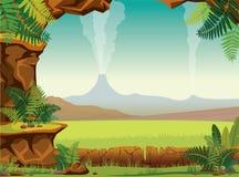 Prehistoric landscape - cave, fern, volcano Royalty Free Stock Photography