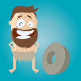 Prehistoric cartoon man with wheel Stock Images