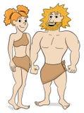 Prehistoric cave dweller couple. Vector illustration of a prehistoric cave dweller couple Royalty Free Stock Image