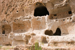 Prehistoric cave dwelling. A view of the remains of a large prehistoric native American Indian cave dwelling at Bandelier National Monument, New Mexico, USA Stock Image