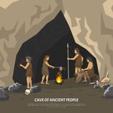 Prehistoric Cave Illustration. Color illustration showing activities ancient people in cave in stone age  illustration Stock Image