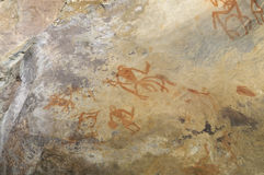 Prehistoric cave painting in Bhimbetka -India. Stock Photos