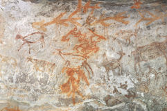 Prehistoric cave painting in Bhimbetka -India. Stock Image