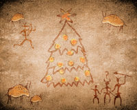 Prehistoric cave painting and christmas tree Stock Image