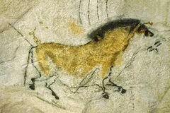Free Prehistoric Cave Painting Of A Horse From The Lascaux Cave Stock Photo - 186442600