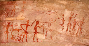 Prehistoric cave paintings over 4000 years Khao Chan Ngam, Nakhon Ratchasima. stock photo