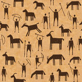 Prehistoric cave paintings seamless pattern Royalty Free Stock Photo