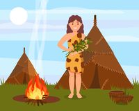 Prehistoric cavewoman character standing next to house made of animal skins, Stone Age natural landscape vector. Illustration in flat style Vector Illustration