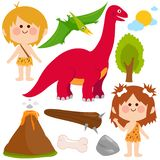 Prehistoric children cavemen and dinosaur set. Prehistoric vector set with children cavemen, dinosaur, rocks, volcano and primitive weapons. Vector illustration royalty free illustration