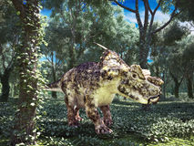 Prehistoric dinosaur roaming the woods stock illustration
