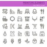 Prehistoric Elements. Thin Line and Pixel Perfect Icons Royalty Free Stock Images