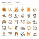 Prehistoric Elements. Thin Line and Pixel Perfect Icons Royalty Free Stock Photography