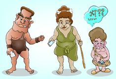 Prehistoric family and modern technology Royalty Free Stock Photography