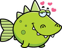 Prehistoric Fish in Love. A cartoon illustration of a prehistoric fish with an in love expression Stock Images