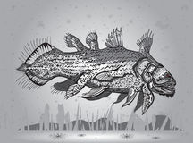 Prehistoric fish. Swimming along the bottom of the river hunting Royalty Free Stock Images