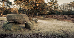 Prehistoric Hunebed. Ancient tomb in Drenthe, Holland Stock Photography