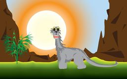A prehistoric landscape. A funny dinosaur in a prehistoric landscape. Vector EPS 10 Royalty Free Stock Photography