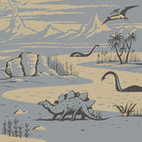 Prehistoric landscape. With carnivorous dinosaurs and ancient plants illustration royalty free illustration