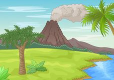 Prehistoric landscape cartoon Stock Photography