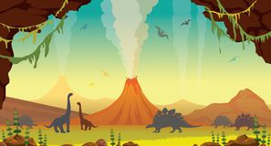 Prehistoric landscape with cave, dinosaurs and volcanos. Active volcanoes with lava, green plants, cave and silhouette of dinosaurs on a blue sky. Prehistoric Stock Images