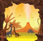 Prehistoric landscape - cave, volcano, dinosaurs, sky. Royalty Free Stock Photography