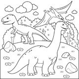 Prehistoric landscape with dinosaurs. Black and white coloring book page. Prehistoric landscape with dinosaurs: pterodactyl, Brontosaurus, apatosaurus stock illustration