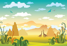 Prehistoric landscape- dinosaurs, mountains, plant. Royalty Free Stock Images