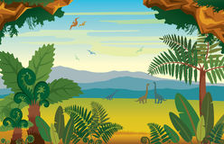 Prehistoric landscape with dinosaurs, mountains and plants. Royalty Free Stock Photos