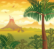 Prehistoric landscape with dinosaurs, volcano and plants. Stock Photography