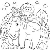 Prehistoric landscape with children riding a mammoth. Black and white coloring book page vector illustration