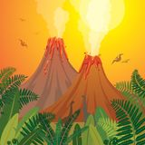 Prehistoric nature landscape - volcanoes, dinosaurs, fern. Prehistoric landscape with two smoking volcanoes, green ferns and silhouette of dinosaurs on a sunset vector illustration