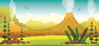 Prehistoric landscape - volcano, pterodactyls, grass. Prehistoric nature - extinct green plants, yellow grass, active smoking volcanoes and silhouette of Stock Images