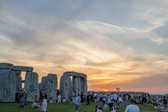 Stonehenge at summer solstice. The prehistoric monument of Stonehenge in Wiltshire, England, at the summer solstice royalty free stock photography
