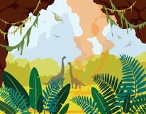 Prehistoric nature landscape with cave, dinosaurs and plants. Prehistoric nature. Cartoon landscape with green plants, cave, silhouette of dinosaurs and active Stock Photos