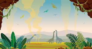 Prehistoric nature landscape with cave, dinosaurs and fern. Prehistoric nature landscape with silhouette of dinosaurs, green fern, cave and gaysers on a sunset Stock Photography