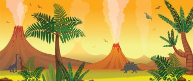 Prehistoric nature landscape - volcanoes, dinosaurs, fern. Prehistoric nature panorama. Active volcanoes, green fern and trees, silhouette of dinosaurs on a Stock Photos