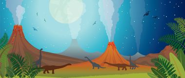 Prehistoric nature - volcano, dinosaur, fern and night. Prehistoric nature panorama. Active volcanoes, green fern and silhouette of dinosaurs on a night starry Stock Photos